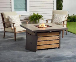 Outdoor Fire Pit Table Patio Backyard Heater Deck Gas Wood Look Square Cover New