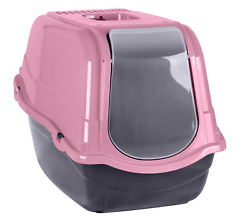 Cat Tray Large Hooded Cat Toilet High Side Filter Box Pink Loo With Flap Light