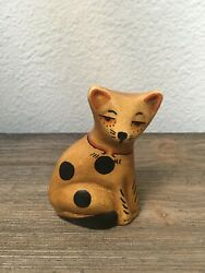 Folk Art Small Cat Figurine Signed with Deer Imprint