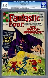 Fantastic Four 21-cgc 6.0- Fine 1963 Early Nick Fury Crossover/hatemonger