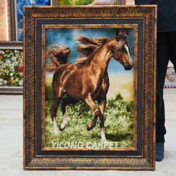 Yilong 1.6and039x2.3and039 Handknotted Wool Silk Carpet Home Office Horse Tapestry Gt007