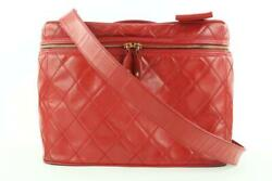 Red Quilted Vanity Case Tote Box With Strap 860902