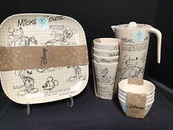 Disney Sketchbook Bamboo Mickey Set, Plates, Cups, Bowls, Pitcher, 13 Pieces New