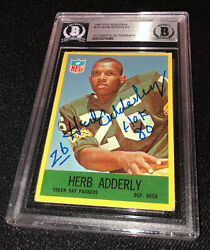 Herb Adderly Signed 1967 Philadelphia 74 Gb Packers Card Beckett Authenticated
