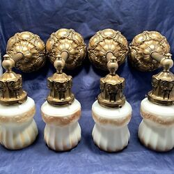 Set Of Four 4 Quality Antique Wall Sconces Withdark Gracian Gold Finish 106d