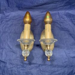 Rewired Pair Brass And Glass Sconces Electric Candles 105c