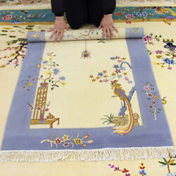 Yilong 3and039x4.7and039 Chinese Art Deco Handmade Wool Carpet Antistatic Floral Home Rug
