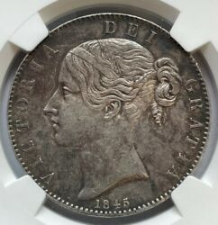 Great Britain Victoria Young Head Crown 1845 Ngc Au55