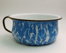 Lg. Antique Blue And White Swirl Graniteware Chamber Pot With Black Trim And Handle