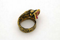 Unique 18ky Gold Dragon Ring Mughal Style, Size 8, Rajastan, North India 1970's