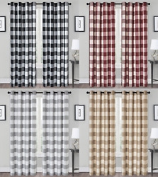 Classic Buffalo Plaid Checkered Grommet Top Curtains - Assorted Colors And Sizes
