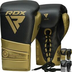 Rdx Leather Boxing Gloves Sparring Muay Thai Pro Fighting Bag Training Mitts