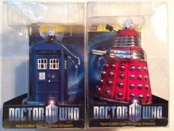 Doctor Who Lot Of Two Glass Christmas Tree Ornament -tardis And Red Dalek Set