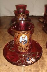 Qajar Persian Tea Glasses / Cups Saucers Cranberry Glass Handpainted Set Of 6