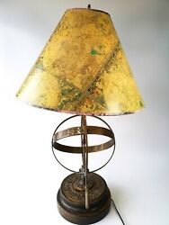 Vintage Frederick Cooper Zodiac Astrological Armillary Bronze Table Lamp W/shade