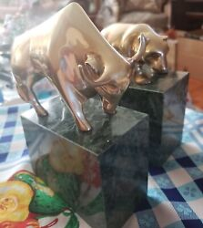 Vintage Set Of Stockmarket Bull And Bear Brass Bookends On Green Marble Base
