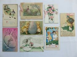 8 Antique Easter Cards 5-postcards And 3-greeting Cards, Ribbons, Children Flowers