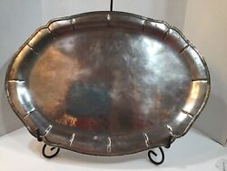 Vintage Large Heavy Mexican Sterling Silver Tray Platter Unmarked,acid Tested.