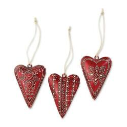 Silvestri Small Metal Red Heart Ornaments 3 Assorted 2020140578