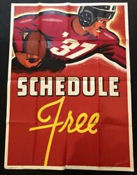 1930s Shaffer Bold Graphics Football Player Litho Poster Schedule Free 38x55