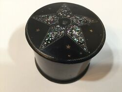 """Antique English Victorian Lacquer Covererd Box 5 Star Abalone Shell 2 1/2"""" H"""