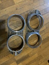 1970 70 Ford Torino Cobra Headlight Grille Inserts Pair