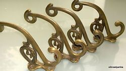 4 Hall Stand Coat Hooks Door Solid Brass Antiques Vintage Old Style 5 Hook B