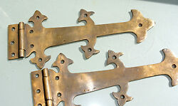 2 Large Hinges Vintage Aged Old Style Solid Brass Door Box Heavy 11 Gate B