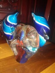 Murano Two Dolphins Jumping Around Heart Shaped Aquarium With Two Orange Fish