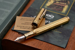 Montegrappa Reminiscence Etched Octagonal 925 Vermeil Fountain Pen Relf-v B Nib