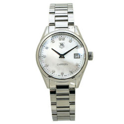 Tag Heuer Carrera War1314 Mop Dial Diamond Markers Ladies Quartz With Boxandpapers