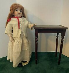 Antique Large Doll Size Mahogany Side Table W/ Green Leather Top - Rare