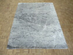 8 X 10and0391 Hand Knotted Gray Modern Abstract Oriental Rug With Silk G6838