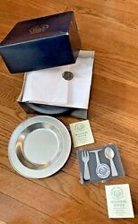 Woodbury Pewter Baby Abc Bowl Feeding Spoon Fork And Knife New Never Used W/ Box