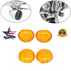 4x Orange Motorcycle Turn Signal Light Lens Covers For Harley Touring Road Glide