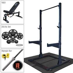 Rugged Half Rack Package With 255 Lb. Hampton Plate Set, Weight Bench, Oly Bar