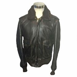 Schott N.y.c Brown Leather Pile Collar Bomber Jacket Menand039s Size 42
