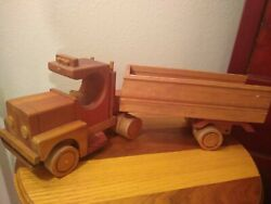 """Handmade Wooden Semi Truck And Tanker Trailer Toy 21.5""""l Vintage Style Signed"""