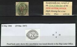 Sg55, Very Rare 1s Green, Cut Square, 22 In 25 Bar Ships Letter Office