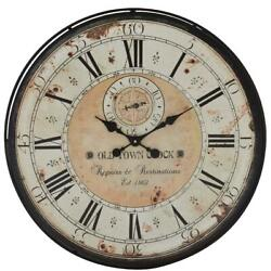 Vintage Wall Clock Rustic Antique Style Large Oversized Distressed Iron Wood 32