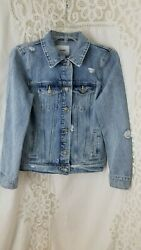 Old Navy Small Women#x27;s Blue Distressed Long Sleeve Button Front Denim Jacket $16.95