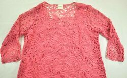 Womenand039s Bedford Rose Pink Lace Top Size Large Lined Body Sheer 3/4 Sleeves