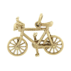 Vintage 9k Yellow Gold Bicycle With Functional Wheels Collectible Charm Pendant