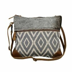 Myra Upcycled Grey Minute Tapestry and Canvas Crossbody Bag Purse