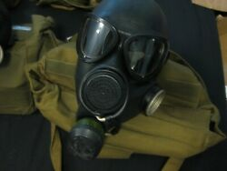 Soviet Russia Ussr Pmk Military Gas Mask Respirator Complete Kit Black - Size 2