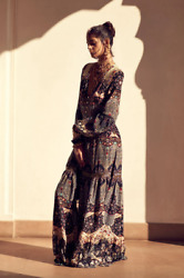New Camilla Silk Chamber Of Reflections Embroidered Peasant Maxi Dress .