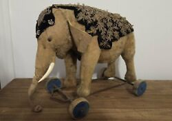 Antique Steiff Elephant On Wheels Extremely Rare Stuffed Animal Pull Toy 1900and039s