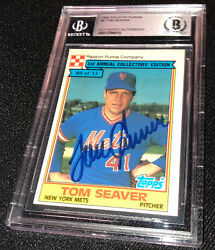 Tom Seaver Signed 1984 Topps Purina 8 New York Mets Card Beckett Authenticated