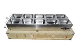 Long Food Warmer10 Pans Commercial Food Warmer Buffet Equipment Wooden Packed