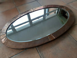 Antique Arts And Crafts Hammered Copper Bevelled Oval Mirror Circa 1900-1920